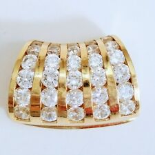 Estate 10K Yellow Gold Cubic Zirconia Slide Pendant 4.7 for Necklace
