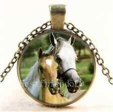 Vintage Horse Mother Love Cabochon Glass Bronze Chain Pendant Necklace