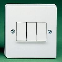 Crabtree 4173 6 amp 3 gang 2 way light switch white plastic