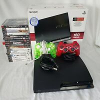 Sony Playstation 3 Slim Console Bundle 17 Games 2 Controllers Lot 160GB