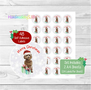 Cockapoo (Brown) Christmas Stickers/Envelope Seals, 48 Labels For Cards/Gifts