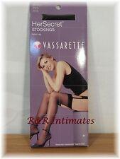 """3 Pair Vassarette Black Stockings, 100% Nylon, Medium, 5'-1"""" -5'-10"""",130-165 lbs"""