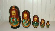 Unique Russian Czar Nicholas Ii 1894-1917 Nesting 5 Dolls Matryoshka 1996,Signed