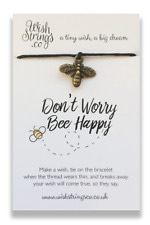 DON'T WORRY BEE HAPPY Bee Token Wish String Friendship Bracelet NEW FREE P&P