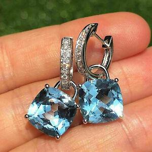 4Ct Cushion Cut Blue Topaz Diamond Drop & Dangle Earrings 14K White Gold Finish.