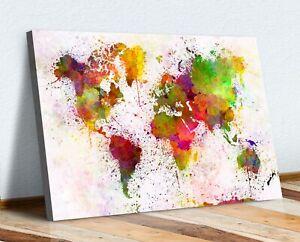WARM ABSTRACT WORLD MAP PAINT SPLATTER CANVAS WALL ART PRINT ARTWORK 30MM DEEP