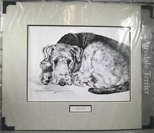 Airedale Terrier Fine Art Sketch Pollyanna Pickering Mounted Print Dog Gift