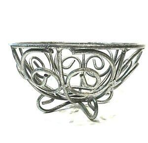 "Pedestal Bowl Footed Iron Metal 5"" Fruit Display Decorative Grey Gray"