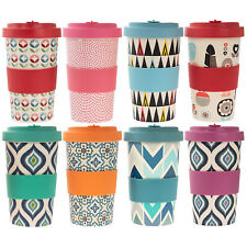 Large Reusable Bamboo Fibre Cup Eco Friendly Travel Coffee Mug Silcone Lid 600ml