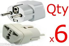 Plug Adapter - 6PK Grounded Universal Plug Adapter for Germany France Europe