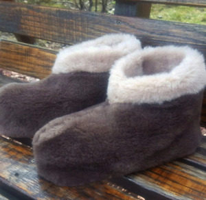 AUTHENTIC BROWN MEN'S SHEEPSKIN SHEEP WOOL VELOR PLUSH LOW SLIPPERS ANKLE BOOTS
