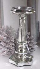 Großer Kerzenständer,Kerzenleuchter, Bauernsilber,Glas Silber,Silberglas, 24 cm