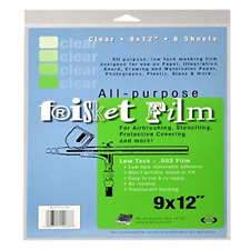 Grafix All Purpose Low Tack Frisket Film 9-Inch-by-12-Inch, Clear Pack of 6