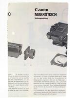 Bedienungsanleitung Canon Makrotisch Instructions