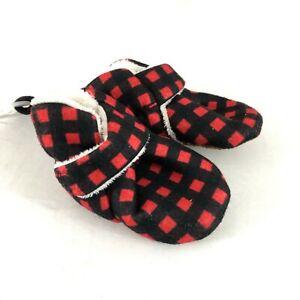 Cat & Jack Baby Buffalo Check Bootie Slipper Crib Shoes Plaid Red Black 0-3M