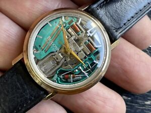 RARE 1966 BULOVA ACCUTRON SPACEVIEW 214 GOLD FILLED ALL ORIGINAL JUST SERVICED