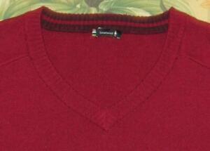 SMARTWOOL Red Wool Blend Sparwood V Neck Sweater XL