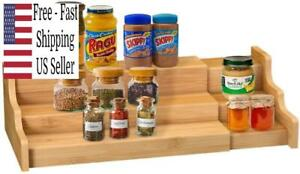 Spice Rack Kitchen Cabinet Organizer- 3 Tier Bamboo Expandable Display Shelf New