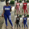 NEW Womens Yoga Tracksuit Set Letter Print 2 Piece Outfits Short Sleeve
