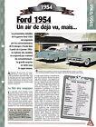 VOITURE FORD CRESTLINE V8 FICHE TECHNIQUE AUTO 1954 COLLECTION CAR