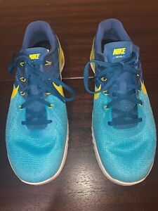 Nike Metcon 3 Mens Crossfit Training Shoes Blue Yellow 852928-401 Size 9.5
