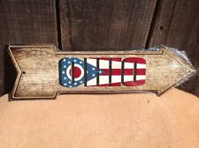 """Ohio State Flag This Way To Arrow Sign Directional Novelty Metal 17"""" x 5"""""""