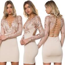 Abito Aperto ricamato Aderente Nudo Pailette Cerimonia Party Lace Sequin Dress S