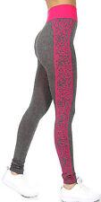 Fitness Leggings - Grey w/Bright Pink Cheetah Print Side Panels