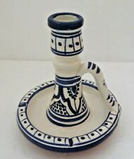 Hand Painted Glazed WEE WILLIE WINKIE  Candle Stick * Blue & White Safi Pottery