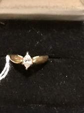 14kt gold ring pre owned size 6 With  Sl1 Marquis Diamond Solitaire Near 1/2 Ct.