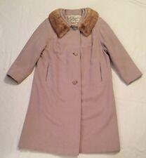 Vintage Beige Hudson's 100% Cashmere Coat With Fur Collar By Jean Harper