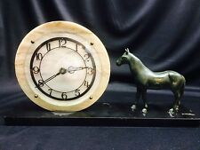 Art Deco Bronze and Marble Horse Clock