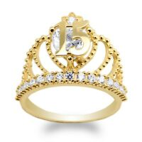 JamesJenny Yellow Gold Plated  15 Anos Quinceanera Crown   Ring Size 5-10