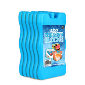 6 x Reusable FREEZER Cool BLOCKS Ice Pack Cooler Bag For Picnic Travel Lunch Box