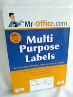 Multi Purpose White Sticky Labels 100 Sheets 45.7mm x 21.2mm 48 Labels Per Sheet