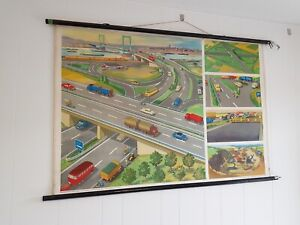 Vintage German Road Systems Map / Wall Chart