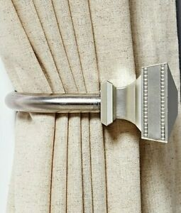 NWT Umbra Quincy Curtain Drapes Scarf Hold Backs ~ Set Of 2 ~ in Nickel