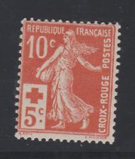 FRANCE  YT 147 N* ttb COTE 40€ CROIX ROUGE 1914 N* TRACE LEGERE