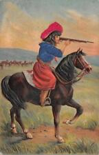 COWGIRL ON HORSE WITH GUN EMBOSSED POSTCARD 1909