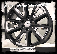 22 inch gloss black chrome inserts 2016 Chevrolet Silverado LTZ OE wheels 6x5.5