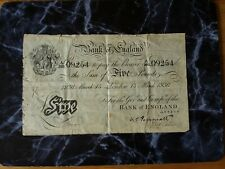More details for peppiatt white 5 pound note issued march 13 1936 note serial number a295 09254
