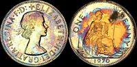 1970 GREAT BRITAIN ONE PENNY HIGH QUALITY COLOR TONED COIN