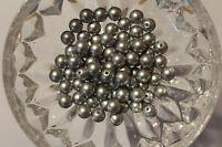 100 Stück Wachsperlen 8 mm silbermatt Bastelperlen Perlenketten