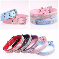 Bling Rhinestone Pet Puppy Cat Collar PU Leather Fashion Neck Strap Dog Necklace