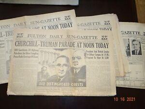 1946 Winston Churchill Newspaper Iron Curtain Speech Fulton MO