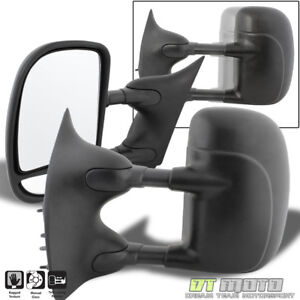 LEFT+RIGHT 99-16 Ford F250~F550 Super Duty Towing Telescoping MANUAL Side Mirror