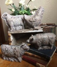 SET OF (4) Antique Tin Style Rustic Distressed Resin Chocolate Mold Farm Animals