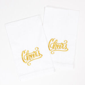 Cheers! Embroidered Towel - Set of 2 - White Cotton w/ Gold Embroidered Cheers