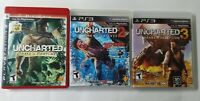 Uncharted 1, 2, 3 Trilogy (Sony PlayStation 3) PS3 All Complete W/Manual *TESTED