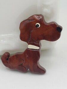 Wood Carved and Painted Dog Puppy Pin Brooch Dog Lover Vintage Artisan